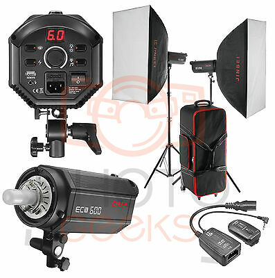 Studio Flash Softbox Lighting Kit  1200w 2 x 600w -Strobe Photography Bowens Fit