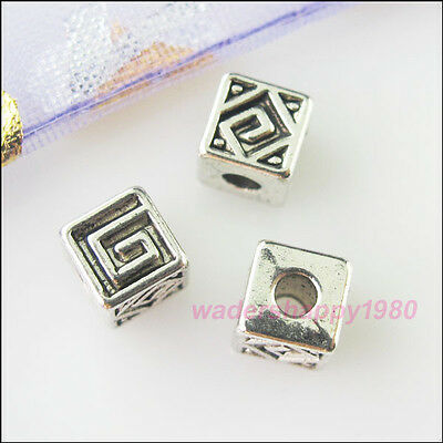 35Pcs New Tibetan Silver Tone Charms Cube Spacer Beads for DIY Crafts 5.5mm