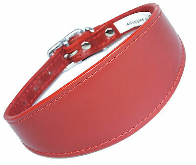 12-14 Inch Plain Red Whippet Greyhound Dog Collar Padded Suede Backing