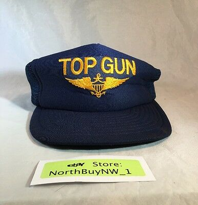 Vintage 1986 TOP GUN Paramount Pictures Movie SNAP BACK HAT CAP Navy Gold *RARE*