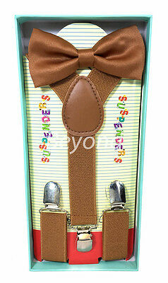 Matching Clip-on Suspender + Bowtie for Kid Toddler Boys Girls w/ Gift Box Brown