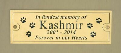 """Solid Polished Brass Engraved Plaque Pet Memorial, , 4"""" x 2"""" or 6"""" x 2"""""""