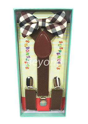 Matching Clip-on Suspender + Bowtie for Kids Toddler Boys Girls w/ Gift Box BRF