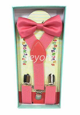 Matching Clip-on Suspender + Bowtie for Kids Toddler Boys Girls w/ Gift Box Pink