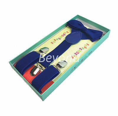 Matching Clip-on Suspender + Bowtie for Kids Toddler Boys Girls w/ Gift Box Blue
