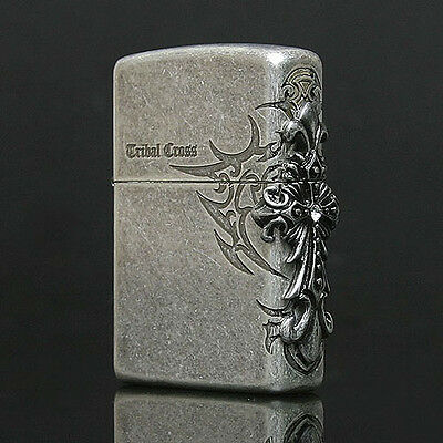 Zippo Tribal Cross Side Emblem Street Chrome USA Genuine Vintage Silver Lighter