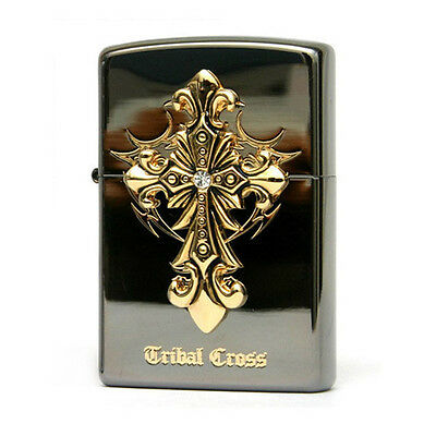 Zippo Tribal Cross Emblem Black Ice USA Made Genuine Classic Windproof Lighter