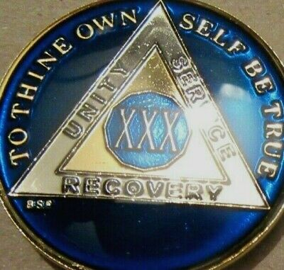 Blue Alcoholics Anonymous 30 Year AA Medallion Token Coin Chip Sobrity Sober