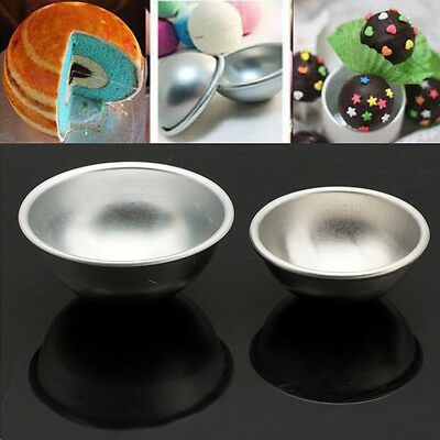 2pcs 55/65mm Trendy Aluminum Ball Sphere Bath Bomb Mould Pastry Cake Baking Mold