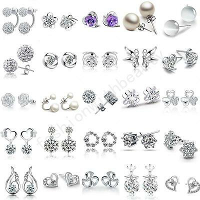 Women`s Wedding Elegant 925 Sterling Silver Crystal Rhinestone Ear Stud Earrings