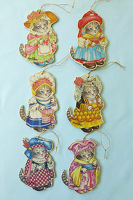 6 Merrimack Kitty Cucumber Cat in Int'l Costumes Diecut Cardboard Ornaments-1985