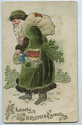 C1910 Pu Green Embossed Felt Applique Gown European Father Christmas J76