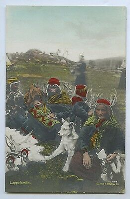 C1910 Hand Tinted Rp Postcard Indigenous Lapland Family E Mittet & Co Publ J54