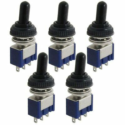 5Pcs 125V 6A ON/OFF/ON 3 Position SPDT Toggle Switch w Waterproof Cover Cap