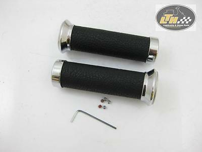 "Grips Aluminium with leather anthracite,Ø 23 & 26,5mm ""PIAGGIO Vespa GT,GTL,GTS"