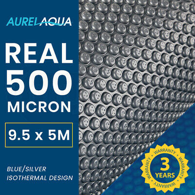 AURELAQUA Solar Swimming Pool Cover Blue/Silver Heater Bubble Blank 8.5x4.2m