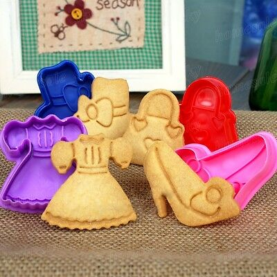 3D Lady Dress Press Chocolate Cake Baking Tool  Biscuit Cookie Cutter Mold Set