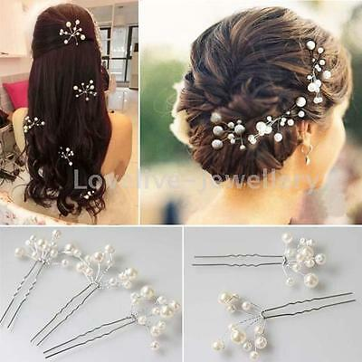 3PCS  Wedding Bridal Faux Pearl Hair Pins Handmade Bridesmaid Hair Accessories