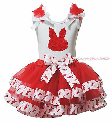 Easter Rose Bunny White Top Red Rabbit Satin Trim Skirt Girls Outfit Set NB-8Y