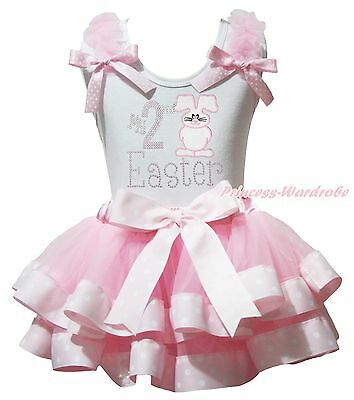 White Top My 2ND Easter Bunny Rabbit Pink Dot Satin Trim Skirt Girl Outfit NB-8Y