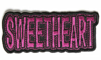 Embroidered Iron Or Sew On Cloth Biker Vest Patch ~ Sweetheart- Pink~