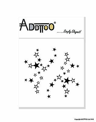 Addttoo Black Shooting Stars Temporary Tattoo Designer Body Art