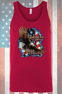 0c404c26940bd USA Flag Men s Tank Top American by Birth Biker by Choice Patriot Bald  Eagle Pri