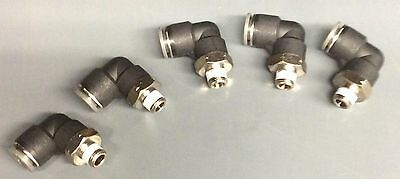 "(5) 1/4"" X 1/4"" NPT Male Elbow One Touch Push to Connect Air Fitting 90"