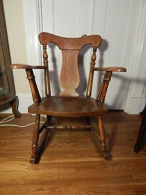 "Antique Oak Rocking Chair 32 3/4""h by 20 3/8""w by 18""d Wooden"