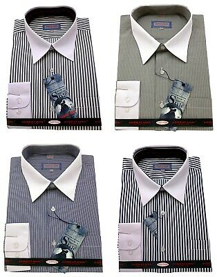 Men's Striped 100% Cotton Shirt Classic Spread Collar Formal Casual Long sleeve