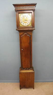 Oak 30 Hour Brass Faced Grandfather Clock Circa Will Graham 1750-1780