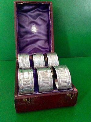 Cased Set 6 English Silver Plate Napkin Rings Original Box