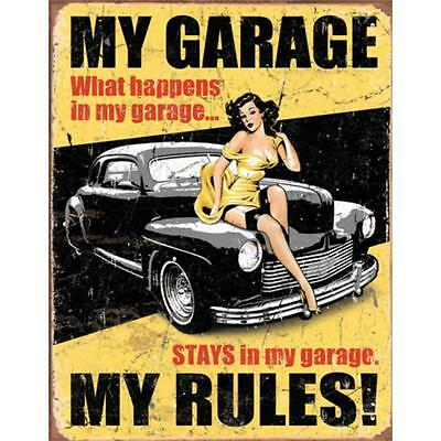 A3/A4 Size  - MY GARAGE MY RULES PIN UP GIRL  - VINTAGE ART PRINT  POSTER  # 4