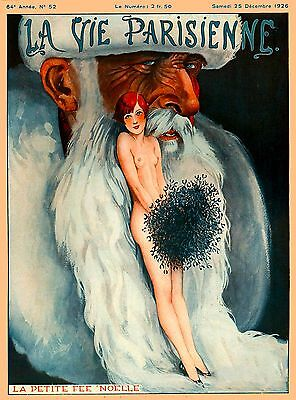 1920's La Vie Parisienne French Bearded Man France Travel Advertisement Poster