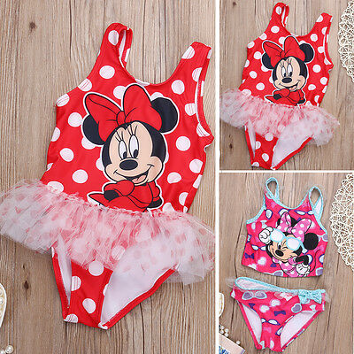 Baby Girls Kids Toddler Mickey Mouse Swimwear Swimsuit Tankinis Bikini Set 2T-6T