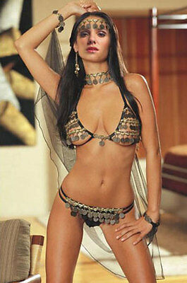 Gypsy Lingerie Sequin Exotic Dancer Womens Bikini Crotchless Hens Night Costume