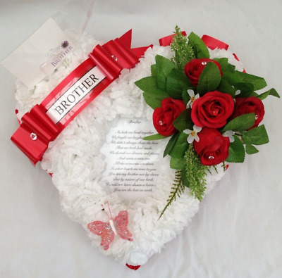 Artificial Silk Flower Mothers Day Poem Heart Wreath Tribute Funeral Mum Pink