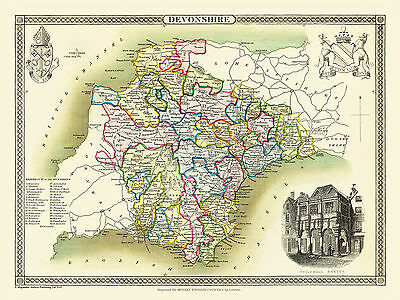 County Map Of Devonshire 1836 By Thomas Moule