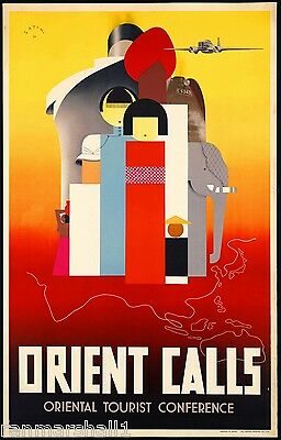 Orient Calls India Japan China Chinese Vintage Travel Art Advertisement Poster