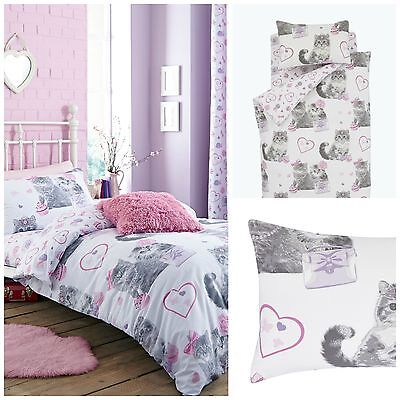 Catherine Lansfield Pretty Kitty Childrens Duvet Cover and Pillowcase Set