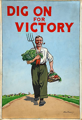 WB64 Vintage Dig For Victory British WW2 World War II Poster Print A2//A3//A4