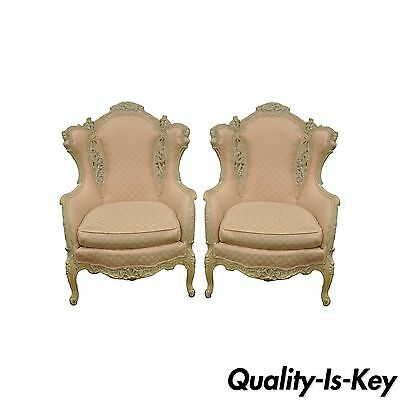 Pair of Vintage Figural French Hollywood Regency Wing Back Fireside Arm Chairs