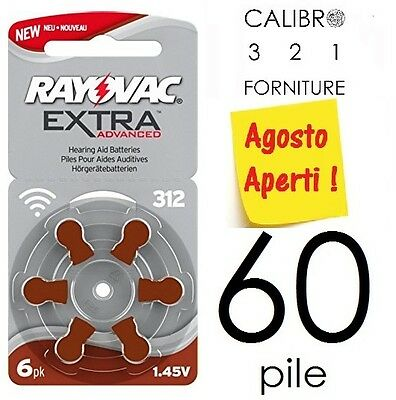 NEW 60 batterie RAYOVAC 312 ADVANCED EXTRA PR41 pile apparecchi acustici MARRONI