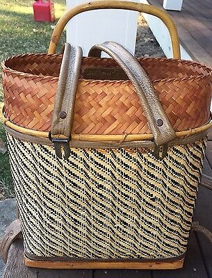 Antique Chinese Bamboo Bucket  Basket Backpack Leather straps Signed Marked
