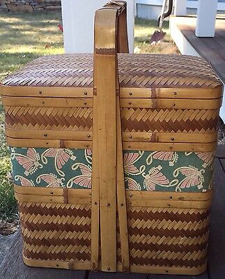 Vintage Chinese Bamboo  Basket Picnic Basket Butterfly Design 4 Sections