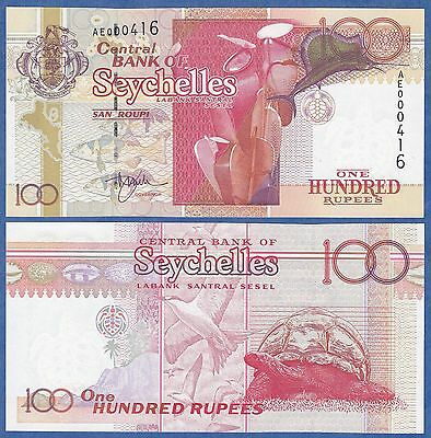 Seychelles 100 Rupees P 40 UNC Black serial # right Low Shipping! Combine FREE!