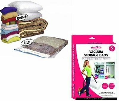 Vacuum Storage Bags Pack Of 5 Reusable Clothe Storage Vacuum Seal Bag Suction 00