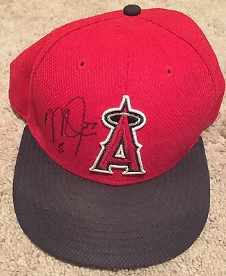 Mike Trout GAME USED 2015 HAT signed WORN auto ANGELS autograph
