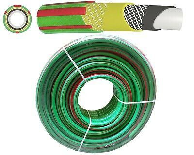 30m Heavy Duty Professional Reinforced Garden Hose Pipe 6 Layers Non Kink, GREEN