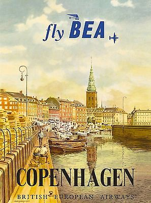 Copenhagen Denmark Scandanavia Fly BEA Vintage Travel Advertisement Poster